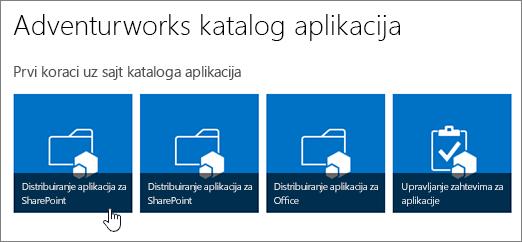 Na prvi koraci uz aplikaciju kataloga pločica sa distribuiraj aplikacije za SharePoint markirana.