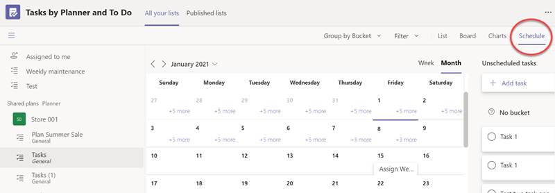 Schedule view of Tasks in Teams