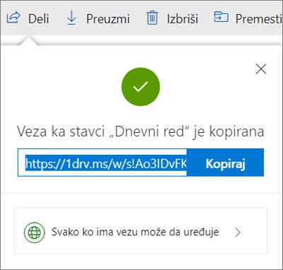 Potvrda o kopiji veze prilikom deljenja datoteka putem linka u usluzi OneDrive