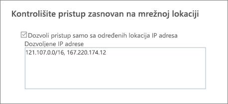 Kontrola pristupa opciju u SharePoint centru administracije