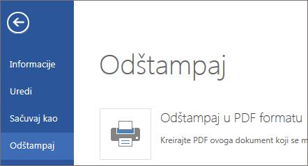 """Komanda """"Odštampaj"""" u programu Word Web App"""