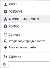 Snimak ekrana postavki meni sa administrator mreže markirana