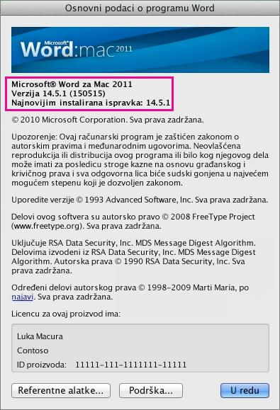 """Word for Mac 2011 prikazuje stranicu """"Osnovni podaci o programu Word"""""""
