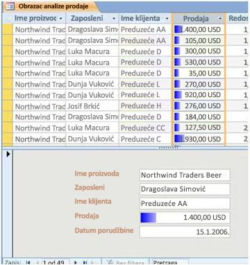 displays data bars in a split form view