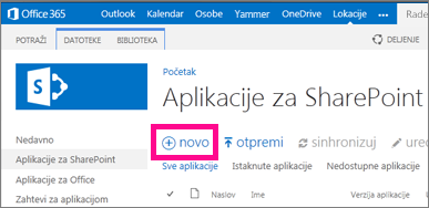 """Veza """"nova aplikacija"""" u biblioteci """"Aplikacije za SharePoint"""" u katalogu aplikacija"""
