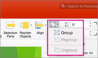 Prikazuje ikone grupe na traci u programu PowerPoint 2016 za Mac