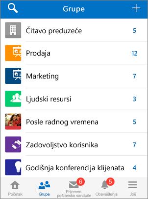 Snimak ekrana grupa u Yammer aplikaciji za mobilne uređaje