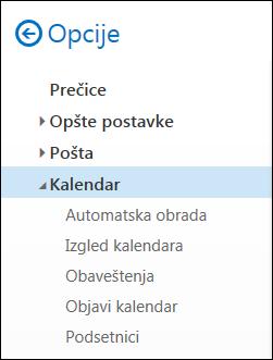 Opcije kalendara programa Outlook na vebu