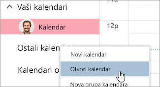 "Snimak ekrana opcija ""Otvori kalendar"""