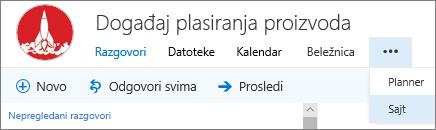 Traka za navigaciju grupe u programu Outlook