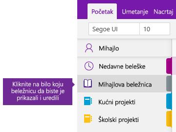 """Snimak ekrana liste """"Beležnice"""" u programu OneNote"""