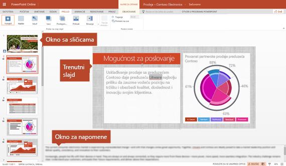 Uređivanje prikaza u programu PowerPoint Online