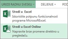 """Stavka """"Uredi u usluzi Excel Online"""" u meniju """"Uređivanje radne sveske"""""""