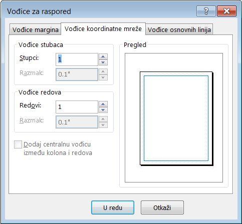"""Dijalog """"Vodiči rasporeda"""" s prikazanom karticom """"Vođice pomoćne mreže"""" u programu Publisher"""