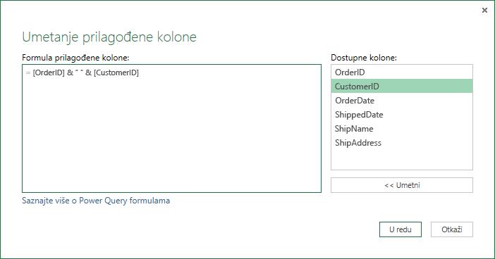 Navođenje formule prilagođene kolone za objedinjavanje vrednosti kolona