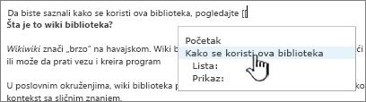 Umetanje veze na wiki sajt