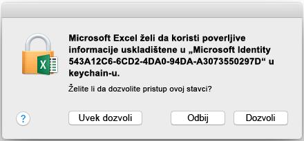Keychain odziv u sistemu Office 2016 za Mac