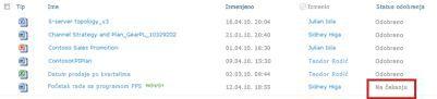 SharePoint biblioteka sa datotekom koja čeka na odobrenje