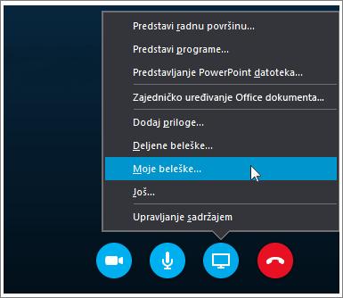 Snimak ekrana koji pokazuje kako da delite OneNote 2016 beleške u usluzi Skype za posao.