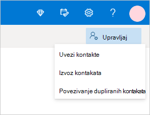 """Meni """"Upravljanje kontaktima"""" u Outlook.com"""