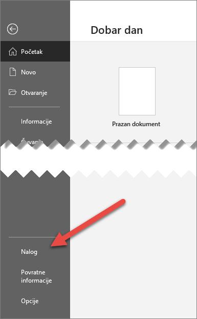 """Kartica """"datoteka"""" u sistemu Office sa strelicom koja pokazuje na opciju """"Nalog"""""""