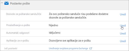 Snimak ekrana: Odaberite stavku Uredi da biste konfigurisali prosleđivanje e-pošte