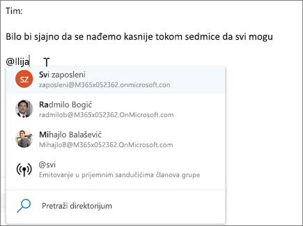 @pominjanja u aplikaciji Outlook na vebu