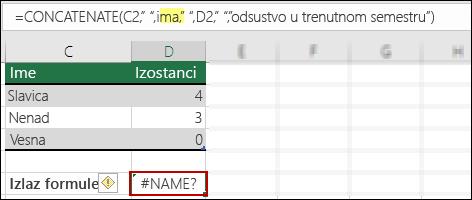 #NAME? greška nastala zbog toga što fale dvostruki znaci navoda u tekstualnim vrednostima