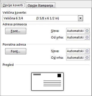 Kartica sa opcijama koverte za postavljanje veličine koverte i fontova za adresu