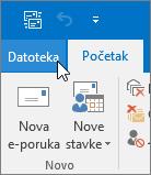 """Snimak ekrana menija """"Datoteka"""" u programu Outlook 2016"""