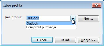 Dijalog za izbor Outlook profila