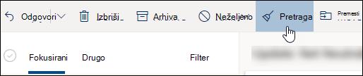 """Snimak ekrana dugmeta """"Počisti""""."""