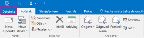 Izgled trake u programu Outlook 2016