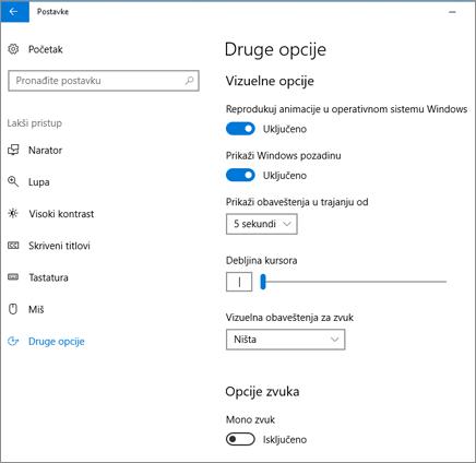 Lakši pristup, okno za ostale opcije u postavkama operativnog sistema Windows 10