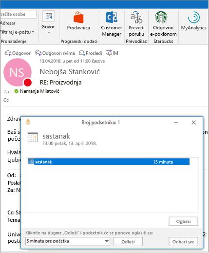 Podsetnik dijalog preko Outlook e-poruke
