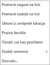 Kontekst ili prečica, meni koji se pojavljuje kada kliknete desnim tasterom miša na ikonu Prijemno poštansko sanduče.