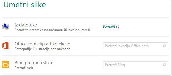"""Dijalog """"Umetanje slike"""" u programu Publisher 2013"""