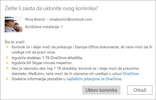 Snimak ekrana dijalogu za potvrdu kada uklanjanje korisnika iz pretplate na Office 365 Home.