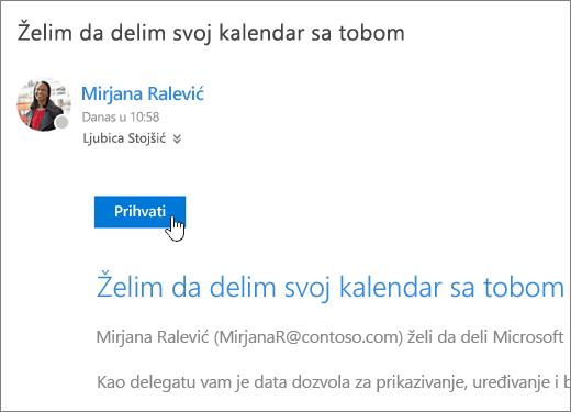 Snimak ekrana pozivnicu za deljeni kalendar.