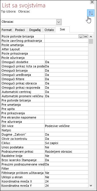Snimak ekrana lista sa svojstvima programa Access na kom su svojstva sortirana po abecednom redosledu