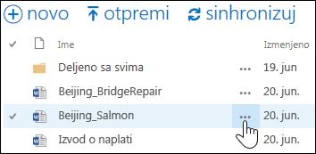 """Izaberite ikonu tri tačke """"Još"""" pored imena dokumenta u usluzi OneDrive for Business da biste otvorili iskačuću karticu dokumenta"""
