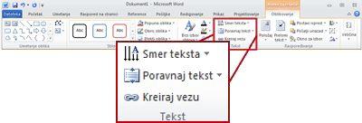 """Kartica """"Oblikovanje"""" u okviru """"Alatke za okvire za tekst"""" na traci programa Word 2010."""