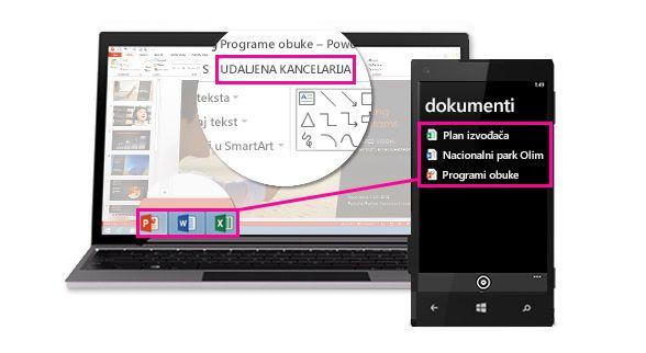 Telefon koji prikazuje datoteke otvorene na radnoj površini