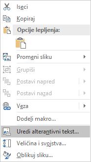 Meni Excel Win32 uređujete alternativni tekst za slike