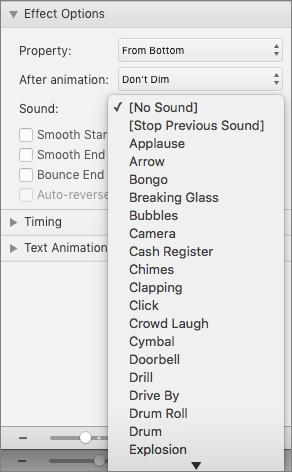 """Snimak ekrana prikazuje u odeljku Opcije efekata animacije u oknu sa menijem """"zvuk"""" razvijenim."""