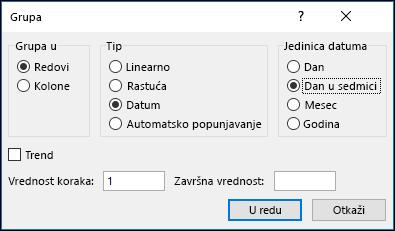 Popunjavanje Excel > opcije grupa