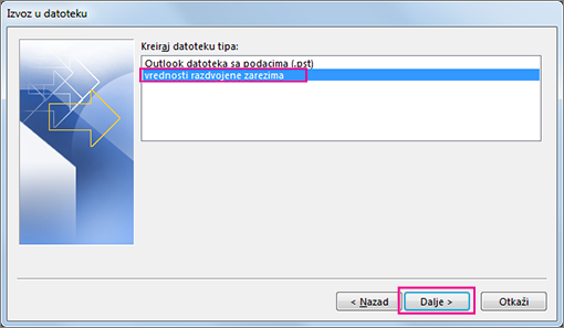 Odaberite izvoz .csv datoteke (Windows)