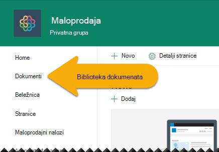 U levoj navigaciji izaberite stavku dokumenti da biste otvorili biblioteku dokumenata.