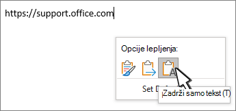 Paste drop down with cursor hovering over text
