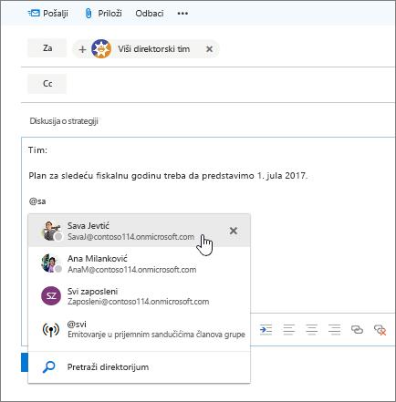 """Snimak ekrana dijaloga """"Nova e-poruka"""" u programu Outlook koji prikazuje @pominjanje u tekstu poruke."""
